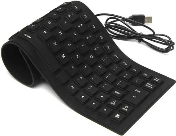 FU4 Portable Flexible Silicone Foldable Waterproof Wired USB Tablet Keyboard Wired USB Multi-device Keyboard (Black) Wired USB Multi-device Keyboard