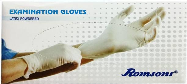 Romsons MEDIUM EXAMINATION GLOVES, 100 PCs. PACK Latex Examination Gloves
