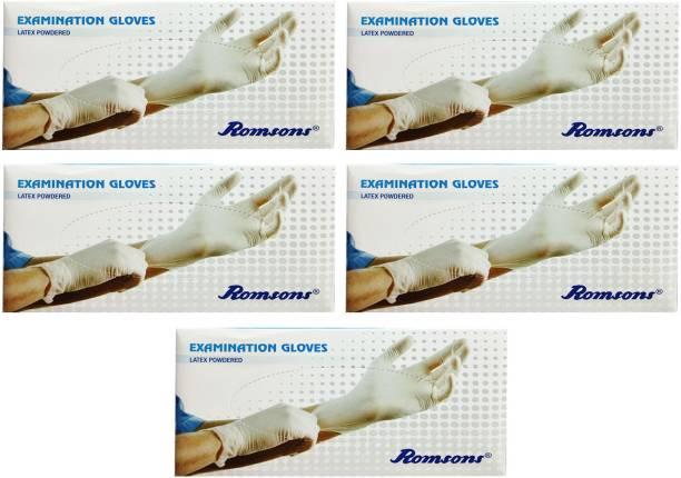 Romsons MEDIUM EXAMINATION GLOVES, 100 PCs. PACK, COMBO OF 5 PACKS, TOTAL 500 GLOVES Latex Examination Gloves