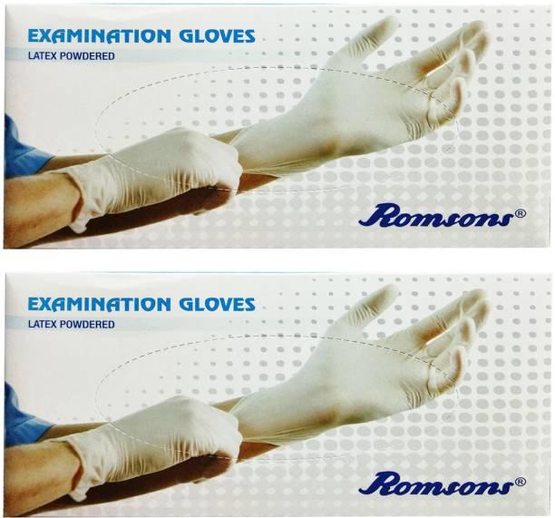 Romsons MEDIUM EXAMINATION GLOVES, 100 PCs. PACK, COMBO OF 2 PACKS, TOTAL 200 GLOVES Latex Examination Gloves