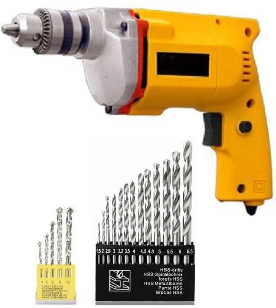 Tools Centre 10Mm Drill Machine With 13Pcs Hss Drill Set & 5Pcs Masonary Drill Set For Wall,Concrete Pistol Grip Drill