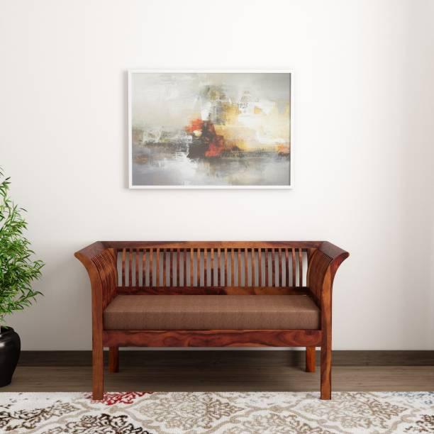Induscraft Wooden Daisy Sheesham Fabric 2 Seater  Sofa
