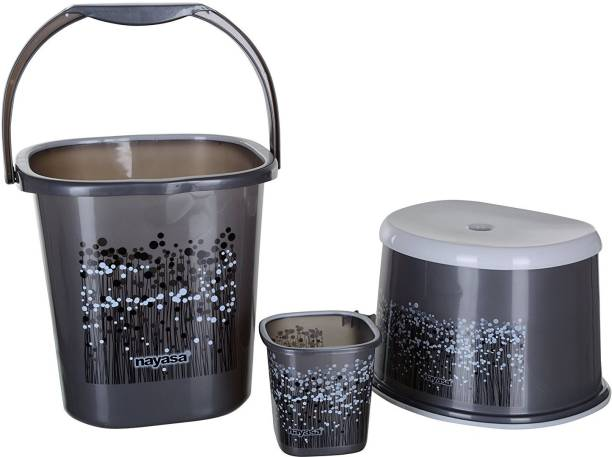 NAYASA 3 Piece Plastic Bathroom Bucket, Mug and Stool Set, Black 25 L Plastic Bucket