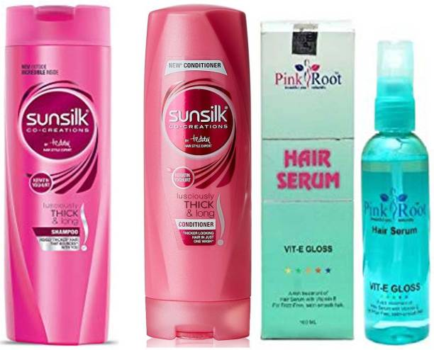 PINKROOT SUNSILK THICK N LONG SHAMPOO WITH CONDITIONER WITH SERUM