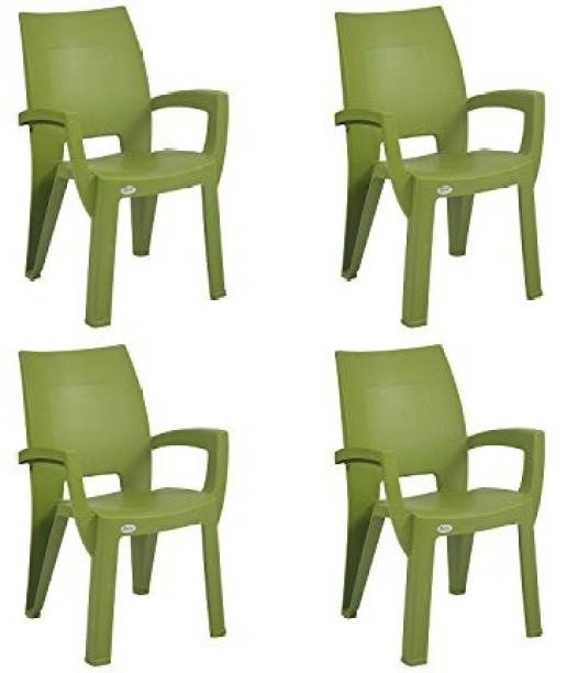 Supreme Villa Set of 4 Chairs, Mehendi Green Plastic Cafeteria Chair