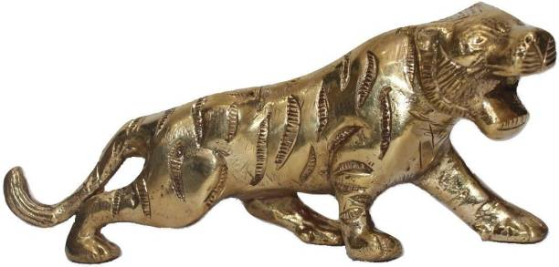 athizay Tiger Statue For Men Gifts Brass Metal Showpiece Gold Finish Decorative Showpiece  -  7.5 cm