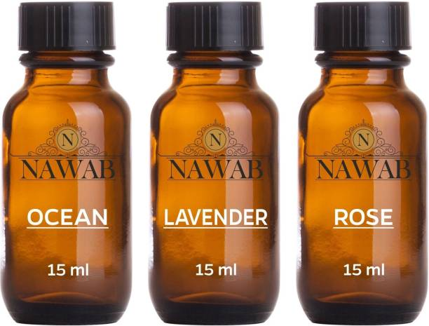 NAWAB essential aroma Diffuser oil(Ocean,Rose,Lavender-15ml each) Aroma Oil
