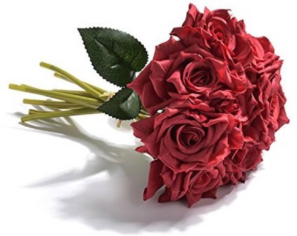 FOURWALLS Beautiful Artificial Decorative Rose Flower Bouquet (26 cm Tall, Blue) Red Rose Artificial Flower
