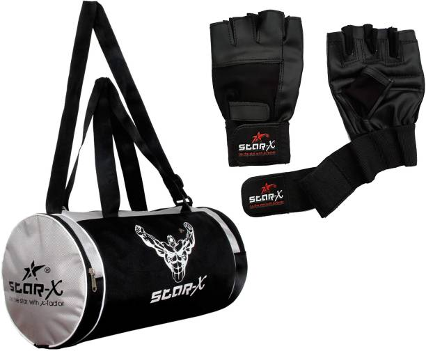 Star X Sports Black Leather Gym Gloves with Gym Bag Fitness Gym Home Gym Combo Gym & Fitness Kit