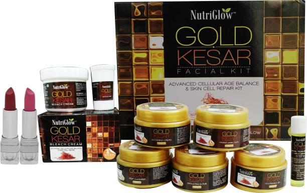 NutriGlow Gold Kesar Facial Kit (250+10)g with bleach and Makeup Kit