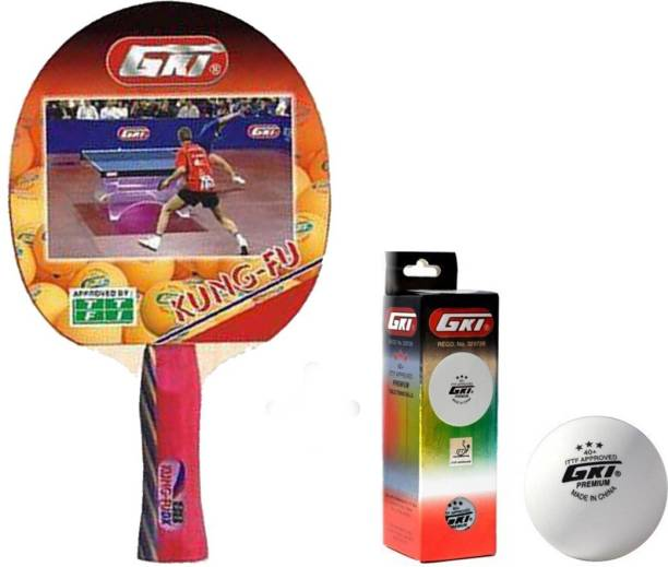 GKI Kung Fu Table Tennis Combo Set (Kung Fu Table Tennis Racquet + Premium 3 Star 40 Table Tennis Ball, Box of 3 - White) Table Tennis Kit