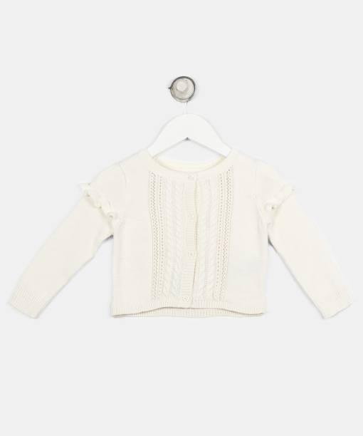 GAP Woven Round Neck Casual Baby Girls White Sweater
