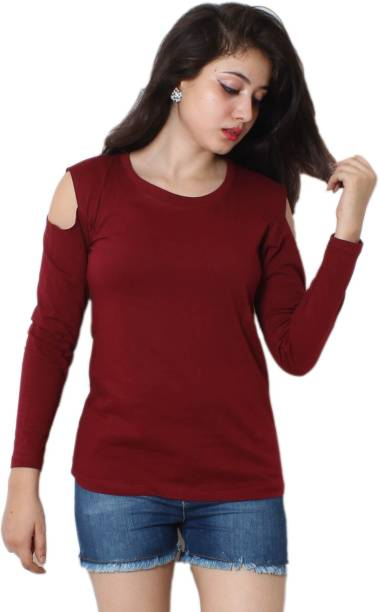 b1eaf45a51b6c3 Himgiri International Casual Cold Shoulder Solid Women Maroon Top