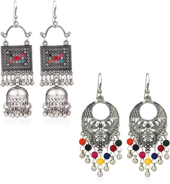 3d80510ad Yellow Chimes Oxidized Silver Combo 2 Pairs Stylish Chandbali Jhumki  Traditional Earrings Alloy Chandbali Earring