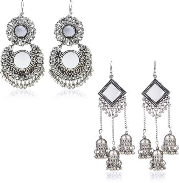 Divastri Oxidized Silver Combo 2 Pairs Stylish Chandbali Jhumki Traditional Earrings Alloy Earring