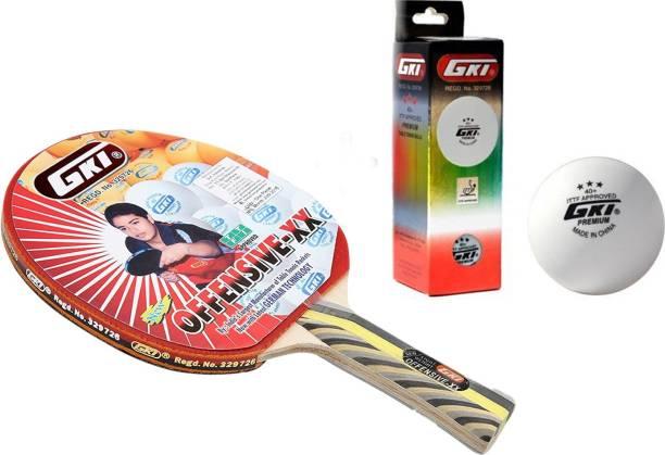 GKI Offensive XX Table Tennis Combo Set (Offensive XX Table Tennis Racquet + Premium 3 Star 40 Table Tennis Ball, Box of 3 - White) Table Tennis Kit
