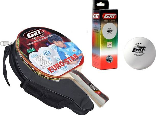 GKI Euro Star Table Tennis Combo Set (Euro Star Table Tennis Racquet + Premium 3 Star 40 Table Tennis Ball, Box of 3 - White) Table Tennis Kit