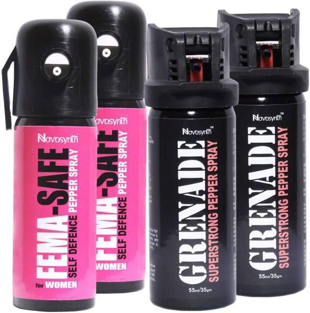 Novosynth FEMASAFE & GRENADE Family pack - 2 Units FEMASAFE + 2 Units GRENADE Pepper Spray Pepper Fogger Spray