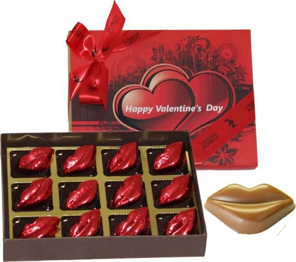 Zoroy Luxury Chocolate Valentines day Dozen Kisses- Box with 12 milk chocolate kisses Fudges