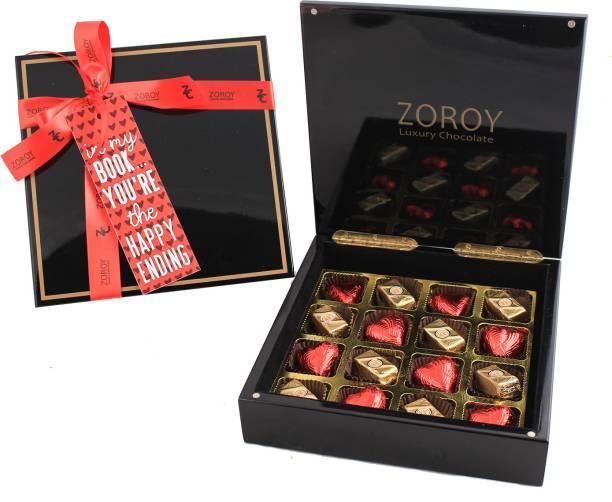 Zoroy Luxury Chocolate Valentines Glossy Box of chocolate Hearts and Pralines Fudges