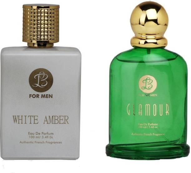 Lyla Blanc Mens WHITE AMBER & Womens GLAMOUR - (Set of 2 Perfume for Couple) (100ml each) Eau de Parfum  -  100 ml