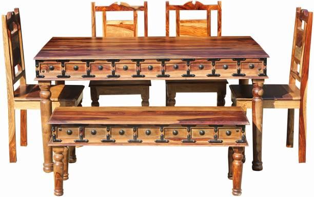 Balaji Wooden Sheesham Wood Solid Wood 6 Seater Dining Set