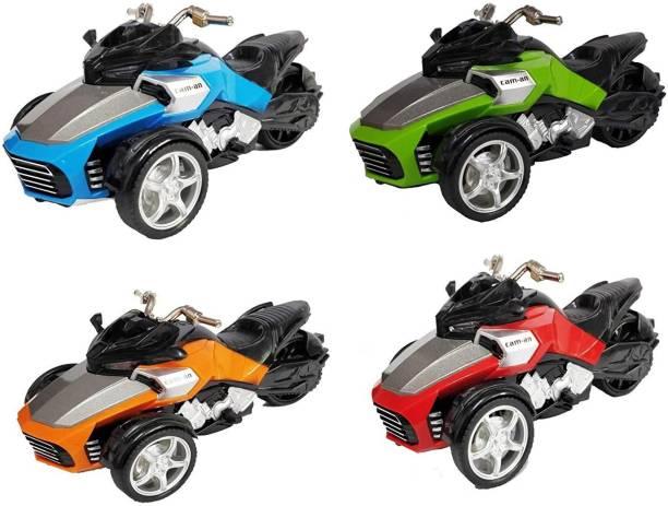 Smartcraft Pull Back Bike Three Wheeled Bike - Pack of 4