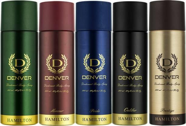 DENVER Hamilton, Honour, Pride, Caliber and Prestige Combo Deodorant Spray  -  For Men
