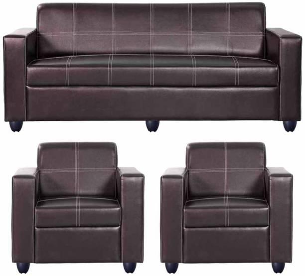 Bharat Lifestyle Cosmo Leatherette 3 + 1 + 1 Brown Sofa Set