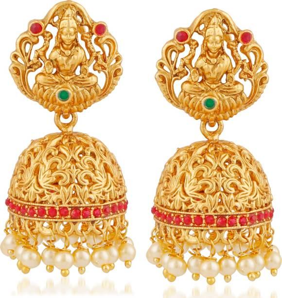 030257810 Meenaz Temple Jewellery Sets Traditional Matte Gold Kundan Pearl Stylish  Wedding Ruby Green Lakshmi Jhumka/