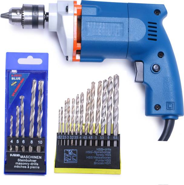 TOOLBUX ELECTRIC DRILL MACHINE 10MM +13 PCS HEAVY DUTY FOR HOME USE AND DRILLING WALL Pistol Grip Drill