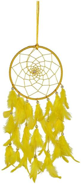 Ryme Yellow Dream Catcher attracts Positive Dreams with Color Feather for Home/Office Wool Dream Catcher