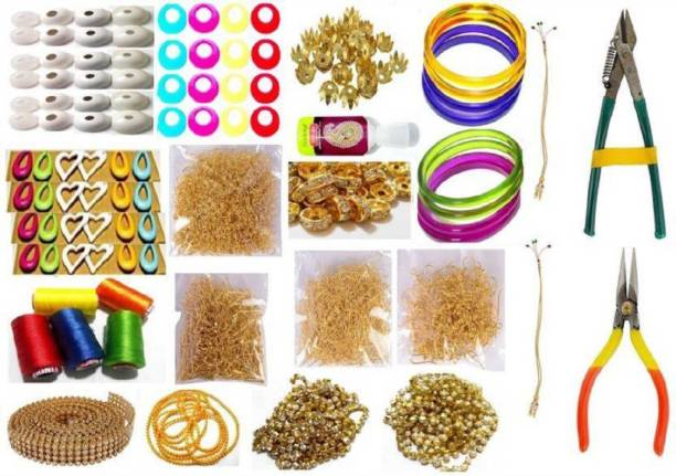 craftistics Silk Thread Jewellery Making Kit, 50 Pair Jhumka Earring Base,Jewellery Making Materials,Full Of Jewellery Making Items, All Items Set With Silk Thread & Tools (19 Items)
