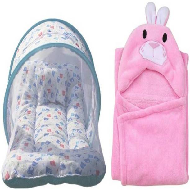 Chote Janab Combo Of baby bedding set with protective mosquito net and pillow And Hooded Baby Towel