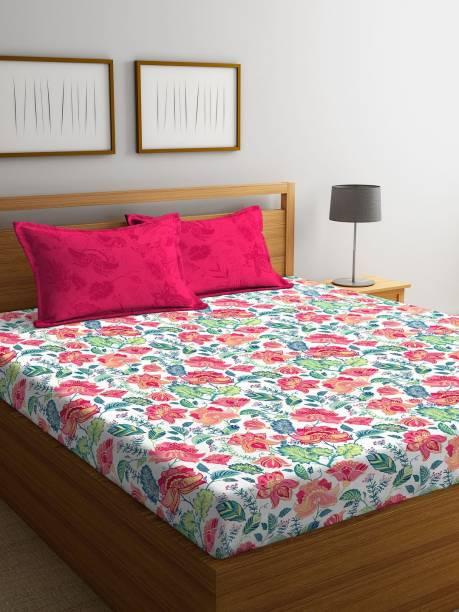 STELLAR HOME 104 TC Cotton Double Floral Bedsheet
