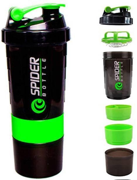 Quinergys ™ Spider 3 in 1 Protein Milk Plastic Shaker.500ml - Green 600 ml Shaker