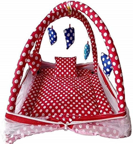 Kids World Baby Play Gym with Mosquito Net and Pillow and Beautiful Musical rattles Hanged in The Product and Beautiful Polka Dots Design(0 to 24 Months) - Exclusive