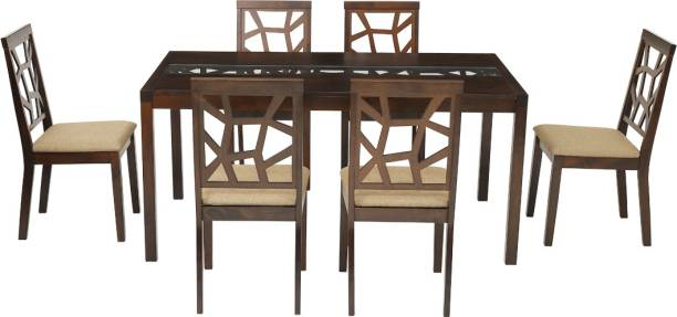 WOODNESS Vanessa Solid Wood 6 Seater Dining Set