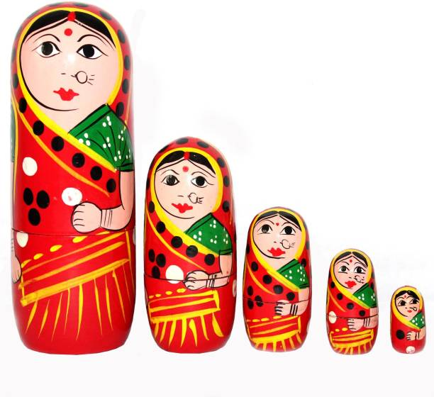 Hind Home Wooden Handmade Crafted Red Color Doll Hand Painted - Nesting Doll - Wooden Decoration Gift Doll - Stacking Nested Wood Dolls for Kids - Set of 5