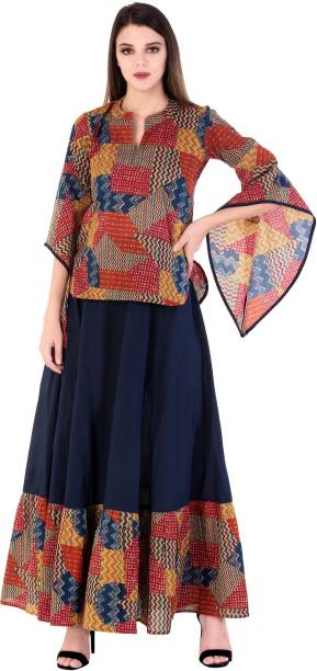 889e5a38aba6ab Top And Skirt Set - Buy Top And Skirt Set Ethnic Sets Online at Best ...