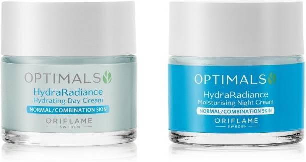 Oriflame Optimals Hydra Radiance Hydrating Day Cream and Hydra Radiance Moisturising Night Cream Normal/Combination Skin(Pack of 2)