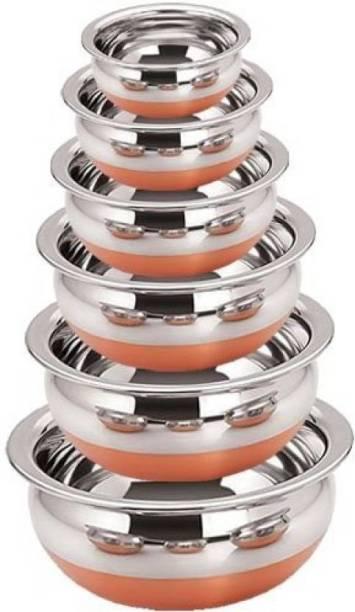 LIMETRO STEEL Copper Bottom Handi Pot 6 Piece Set/Steel Handi Set 6 Piece Set/Cookware Chetty Combo Serving Handi Cookware Multi Purpose Handi 1 L