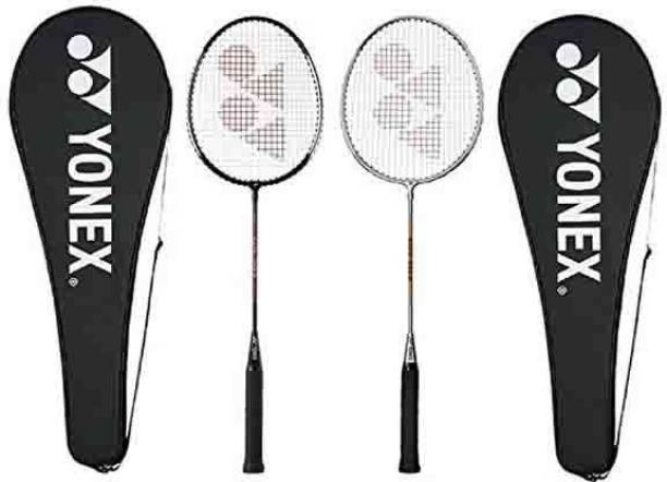 YONEX GR 303 Combo Aluminum Badminton Racquet with Full Cover, Set of 2 (Black/Silver) Silver, Black Strung Badminton Racquet