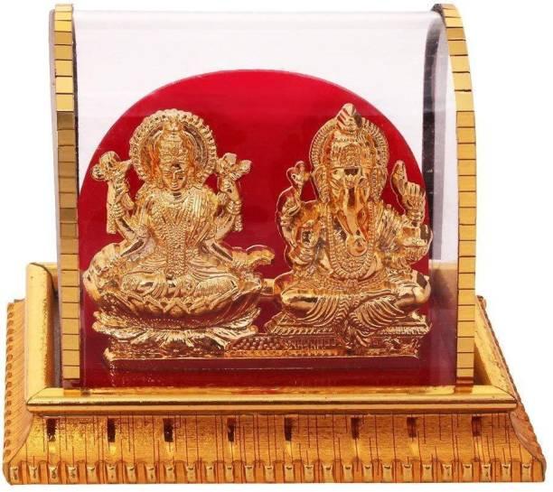 INTERNATIONAL GIFT Gold Plated Lord Ganesh & Maa Lakshmi Acrylic Idol/Hindu God Idol Religious Tile