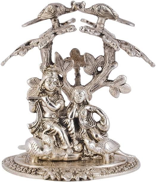 INTERNATIONAL GIFT Silver Plated Radha Krishna Tree God Idol With Velvet Box Packing (22 Cm, Silver) Religious Tile