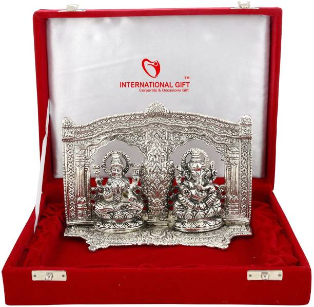INTERNATIONAL GIFT Silver Plated Laxmi Ganesh God Idol Oxidized Silver Finish With Red Velvet Box (16, Silver) Religious Tile