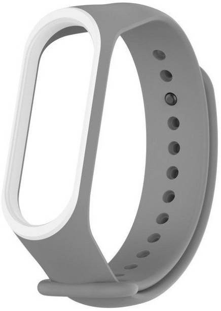 Epaal Dual Color Band Compatible with Mi Band 4 & Mi Band 3 - Grey-whiteline Smart Band Strap