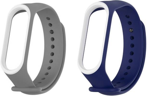 Epaal Dual Color Combo Pack Compatible with Mi Band 4 & Mi Band 3 - Blue-whiteline & Grey-whiteline Smart Band Strap