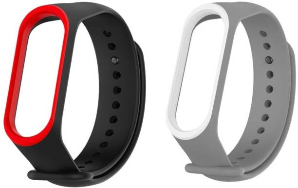 Epaal Dual Color Combo Pack for Mi Band 3 - Black-redline & Grey-whiteline Smart Band Strap Smart Band Strap