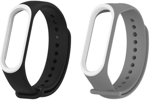 Epaal Dual Color Combo Pack Compatible with Mi Band 4 & Mi Band 3 - Black-whiteline & Grey-whiteline Smart Band Strap Smart Band Strap